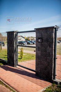 Ogrodzenie panelowe furtka panelowa panel przetłaczany 3D słupek szeroki murowany pustak łupany grafit Radom Zwoleń