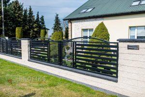 Ogrodzenie murowane łupane pustak łupany biały grafit ogrodzenia metalowe nowoczesne poziome profile model Radom producent stal spawana na wymiar Jedlińsk Zwoleń Warka