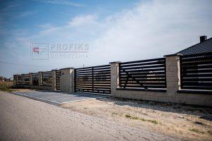 Ogrodzenie murowane łupane pustak łupany biały ogrodzenia metalowe nowoczesne poziom model Radom producent stal spawana na wymiar Pionki Kozienice spawalnia