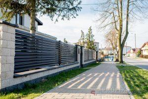 Ogrodzenie murowane łupane pustak łupany biały grafit ogrodzenia metalowe nowoczesne poziome profile żaluzja Radom producent stal spawana na wymiar Skarżysko Kamienna