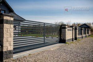 Ogrodzenie murowane łupane pustak łupany biały grafit ogrodzenia metalowe nowoczesne poziom poziome profile model Radom producent stal spawana na wymiar Pionki Zwoleń spawalnia