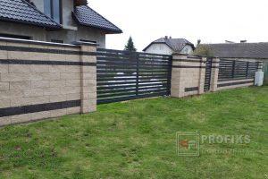 Ogrodzenie murowane łupane pustak łupany biały grafit ogrodzenia metalowe nowoczesne poziome profile Radom producent stal spawana na wymiar Skaryszew