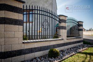 Ogrodzenie murowane łupane pustak łupany biały grafit ogrodzenia metalowe nowoczesne poziom groty model Radom producent stal spawana na wymiar Lipsko Puławy spawalnia