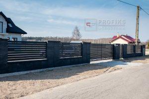 Ogrodzenie murowane pustak gładki grafit podmurówka słupki ogrodzenia metalowe nowoczesne poziom brama przesuwna furtka przęsła profile model Radom producent stal spawana na wymiar spawanie zwoleń Jedlińsk