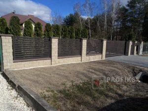 Ogrodzenie murowane łupane pustak łupany żółty ogrodzenia metalowe nowoczesne poziome profile Radom producent stal spawana na wymiar Jedlińsk