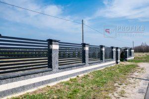 Ogrodzenie murowane łupane pustak łupany biały grafit ogrodzenia metalowe nowoczesne poziom model Radom producent stal spawana na wymiar Starachowice Pionki spawalnia