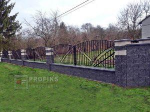 Ogrodzenie murowane łupane pustak łupany biały grafit ogrodzenia metalowe nowoczesne łuki pion profile model Radom producent stal spawana na wymiar Kozienice Iłża spawalnia