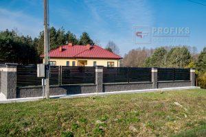Ogrodzenie murowane łupane pustak łupany biały grafit ogrodzenia metalowe nowoczesne poziome profile Radom producent stal spawana na wymiar Iłża