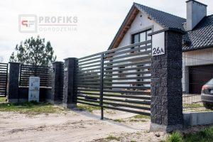 Ogrodzenie murowane łupane pustak łupany grafit ogrodzenia metalowe nowoczesne poziome profile model Radom producent stal spawana na wymiar Lipsko Kozienice Dęblin spawalnia