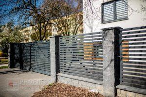Ogrodzenie murowane łupane pustak łupany grafit podmurówka ogrodzenia metalowe nowoczesne poziom brama przesuwna przęsła profile model Radom producent stal spawana na wymiar spawanie Ostrowiec Zwoleń