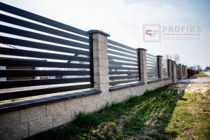 Ogrodzenie murowane łupane pustak łupany biały ogrodzenia metalowe profil pozio nowoczesne model Radom producent stal spawana na wymiar spawanie Starachowice Białobrzegi