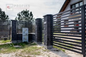 Ogrodzenie murowane łupane pustak łupany grafit ogrodzenia metalowe profil poziom nowoczesne model Radom producent stal spawana na wymiar spawanie Starachowice Kozienice