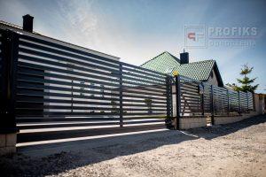 Ogrodzenie murowane łupane pustak łupany biały podmurówka ogrodzenia metalowe nowoczesne poziom brama przesuwna przęsła profile model Radom producent stal spawana na wymiar spawanie Grójec Zwoleń