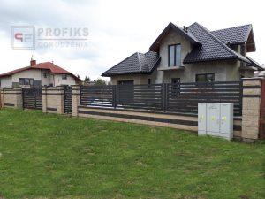 Ogrodzenie murowane łupane pustak łupany biały grafit ogrodzenia metalowe nowoczesne poziome profile Radom producent stal spawana na wymiar Wielogóra