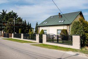 Ogrodzenie murowane łupane pustak łupany biały ogrodzenia metalowe nowoczesne poziome profile model Radom producent stal spawana na wymiar Białobrzegi