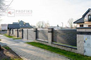 Ogrodzenie murowane łupane pustak łupany grafit ogrodzenia metalowe nowoczesne poziom brama skrzydłowa przęsła profile model Radom producent stal spawana na wymiar spawanie Groszowice Niemianowice