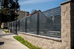 Ogrodzenie murowane łupane pustak łupany brąz ogrodzenia metalowe nowoczesne poziom brama skrzydłowa przęsła profile model Radom producent stal spawana na wymiar spawanie Grójec Pionki