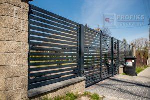 Ogrodzenie murowane łupane pustak łupany żółty ogrodzenia metalowe nowoczesne poziom profile poziome model Radom producent stal spawana na wymiar Warka Zwoleń Puławy spawalnia