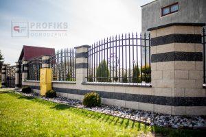 Ogrodzenie murowane łupane pustak łupany biały grafit ogrodzenia metalowe nowoczesne pionowe groty profile model Radom producent stal spawana na wymiar Ostrowiec świetokrzyski spawalnia