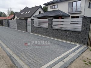 Ogrodzenie murowane łupane pustak łupany grafit ogrodzenia metalowe nowoczesne model Radom producent stal spawana na wymiar spawanie Starachowice Zwoleń