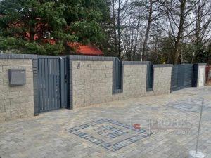 Ogrodzenie murowane łupane pustak łupany biały ogrodzenia nowoczesne model Radom producent stal spawane na wymiar spawanie Skarżysko Opoczno