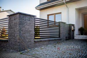 Ogrodzenie murowane łupane cegła old grafit ogrodzenia metalowe nowoczesne poziome profile model Radom producent stal spawana na wymiar Orońsko Grójec spawalnia