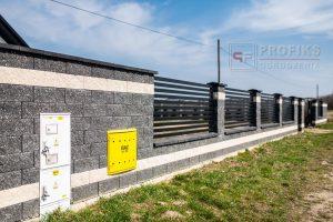 Ogrodzenie murowane łupane pustak łupany biały grafit ogrodzenia metalowe nowoczesne poziom poziome profile model Radom producent stal spawana na wymiar Ostrowiec Świętokrzyski Pionki spawalnia