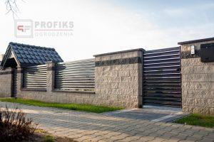 Ogrodzenie murowane łupane pustak łupany biały grafit ogrodzenia metalowe nowoczesne poziome profile żaluzja Radom producent stal spawana na wymiar Zwoleń