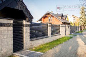 Ogrodzenie murowane łupane pustak łupany biały grafit ogrodzenia metalowe nowoczesne poziome profile żaluzja Radom producent stal spawana na wymiar Warka