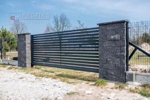 Ogrodzenie murowane łupane pustak łupany grafit ogrodzenia metalowe nowoczesne poziom brama przesuwna profile model Radom producent stal spawana na wymiar Jedlińśk Pionki spawalnia